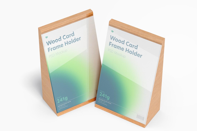 Wood Card Frame Holders Mockup