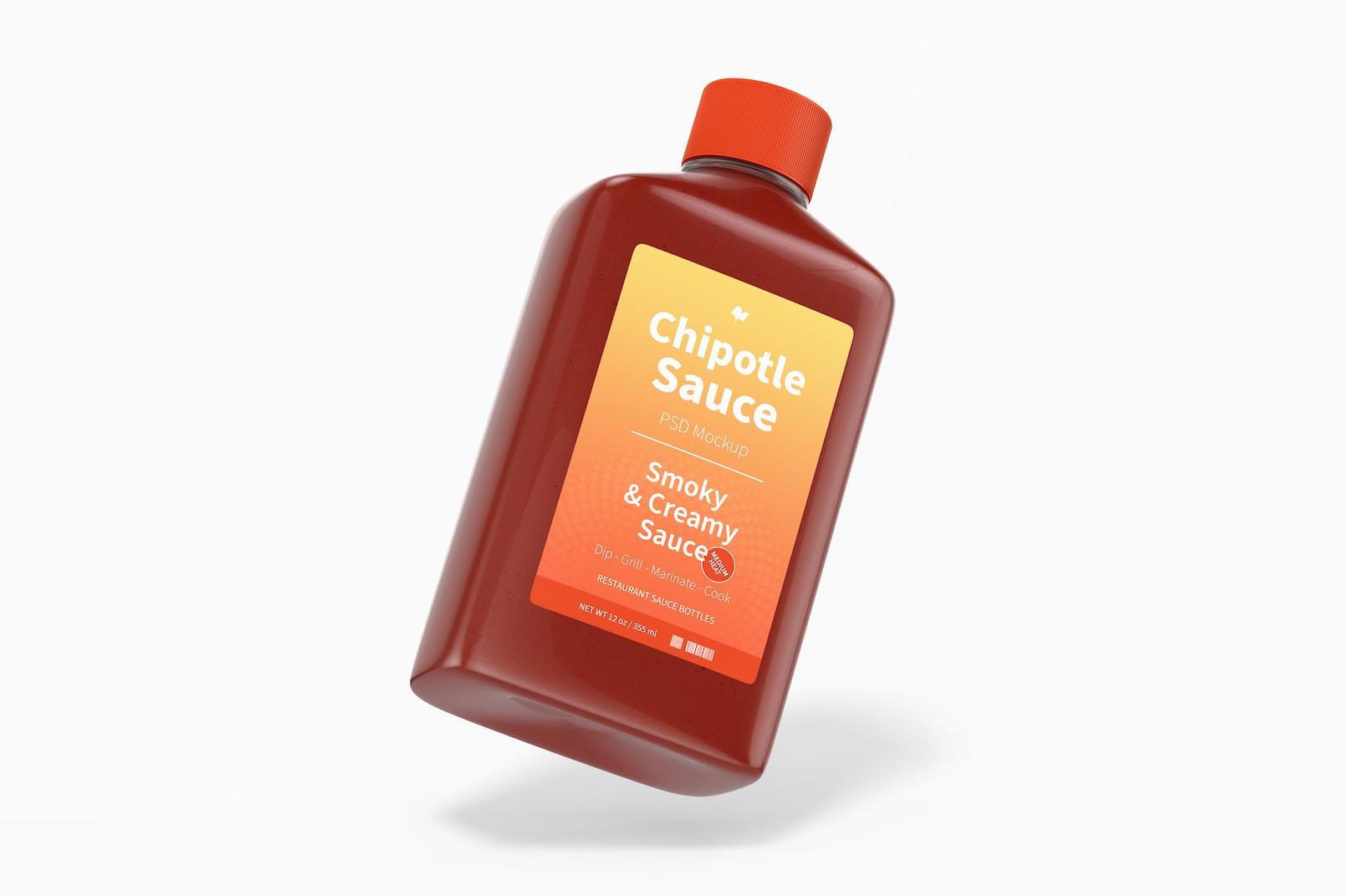 4 oz Chipotle Sauce Bottle Mockup, Floating
