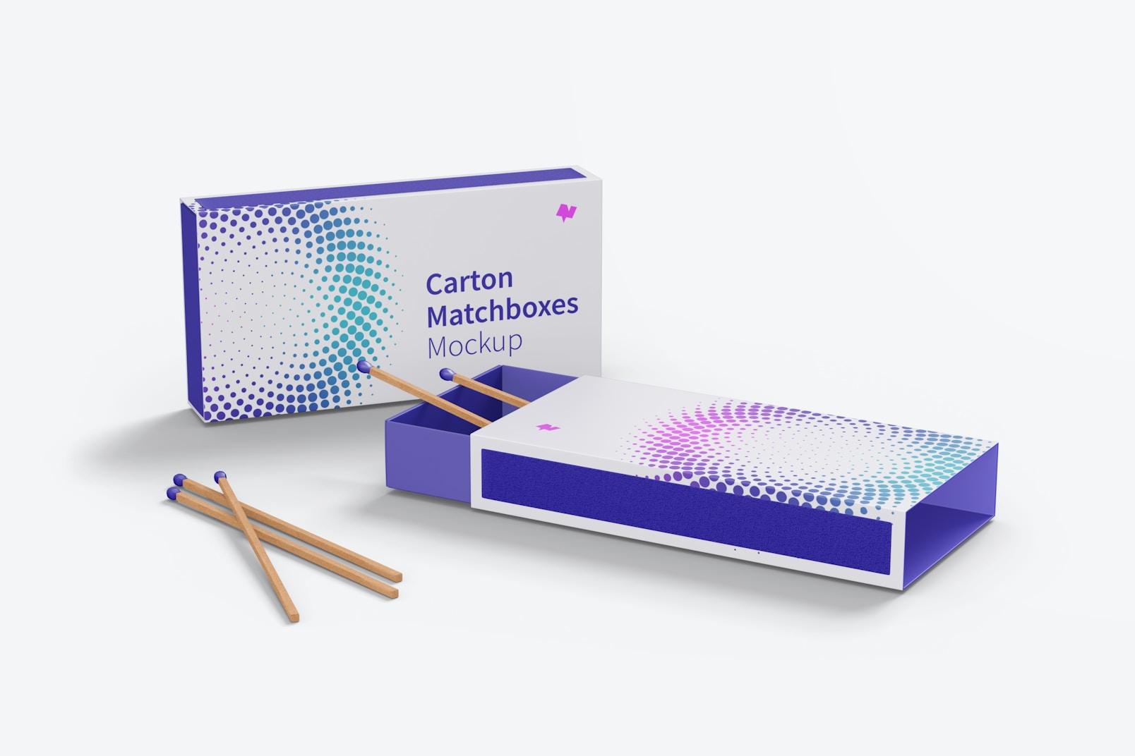 Carton Matchboxes Mockup, Side View