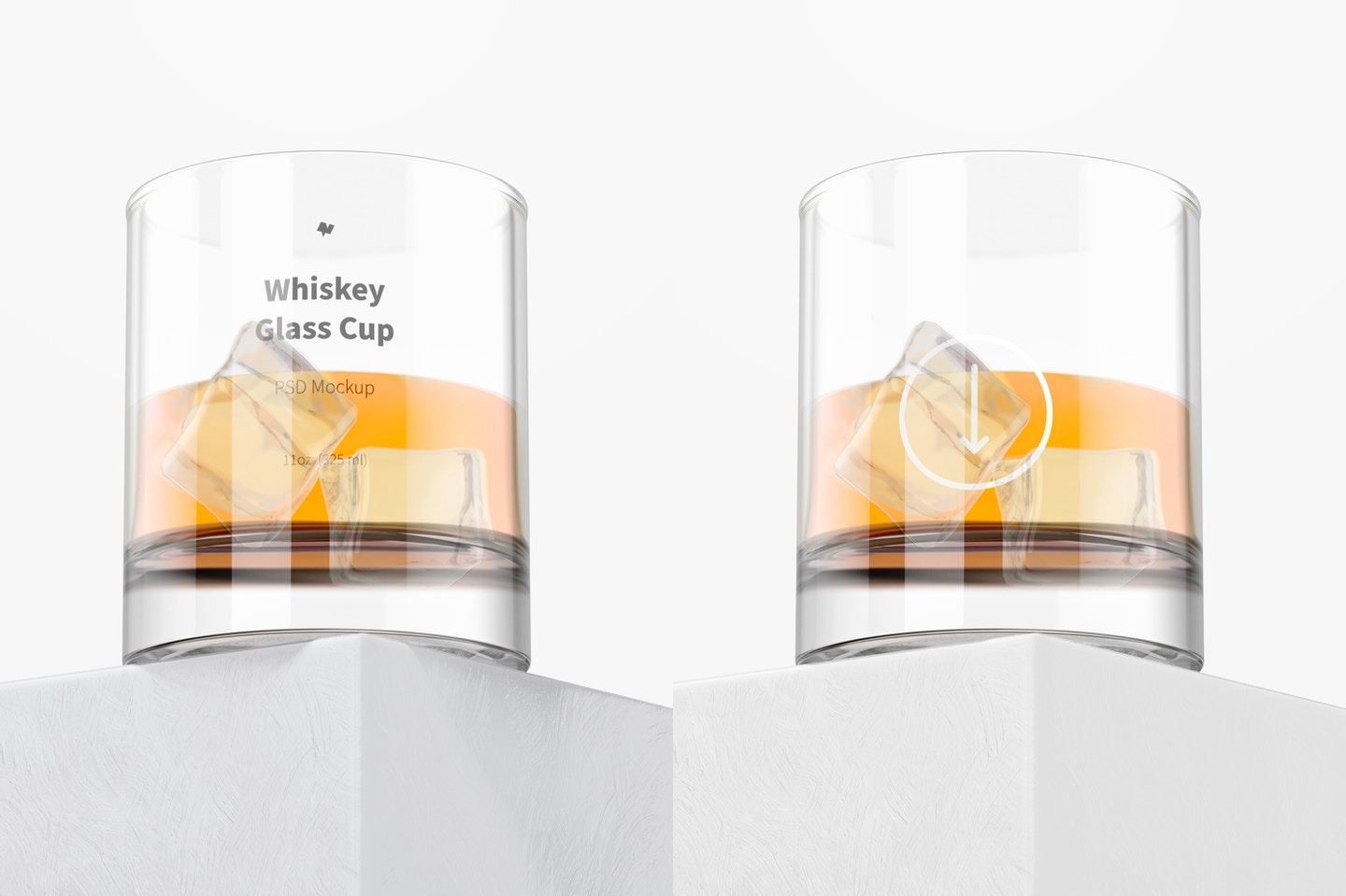 11 oz Whiskey Glass Cup Mockup, Perspective