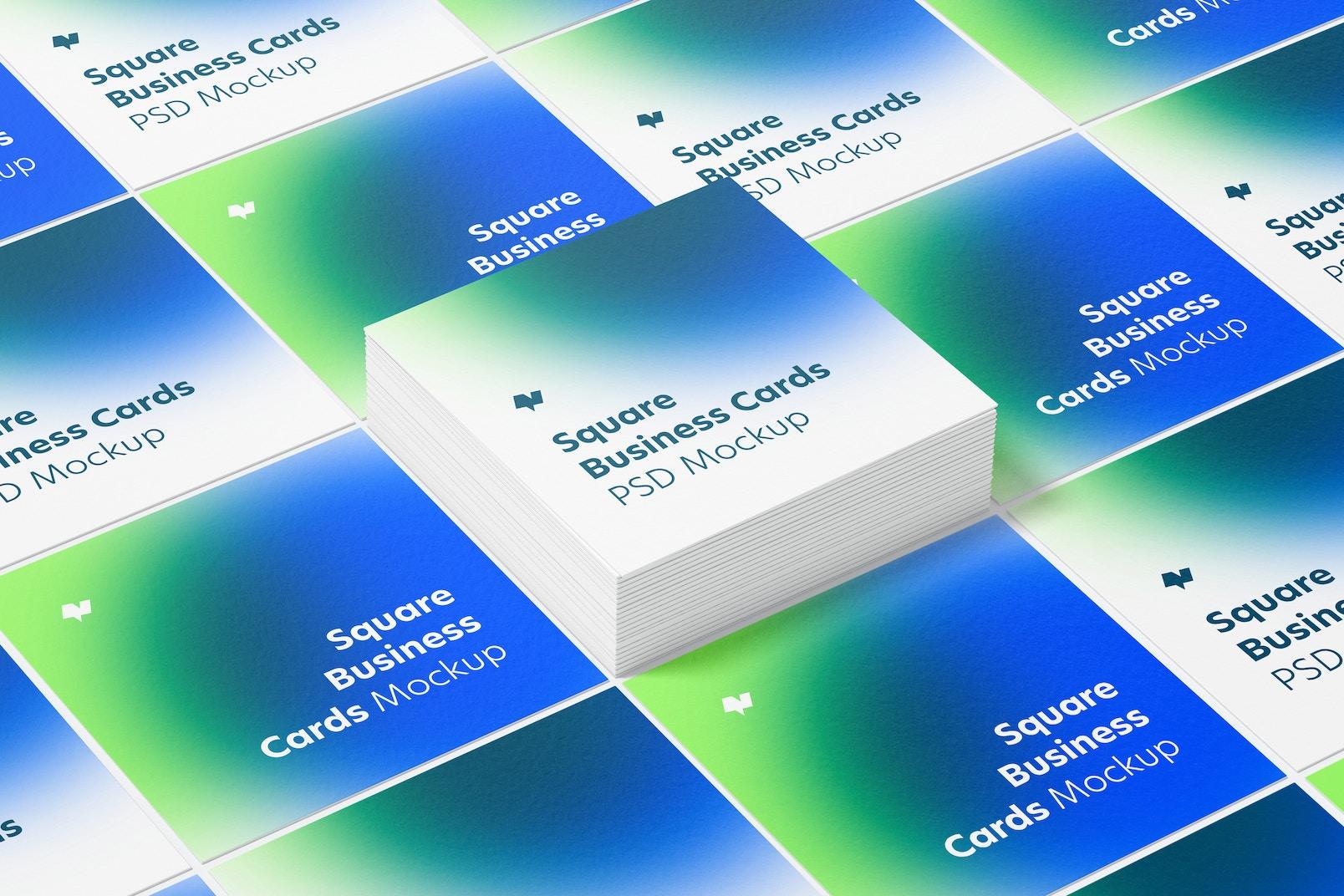 Square Business Cards Set Mockup