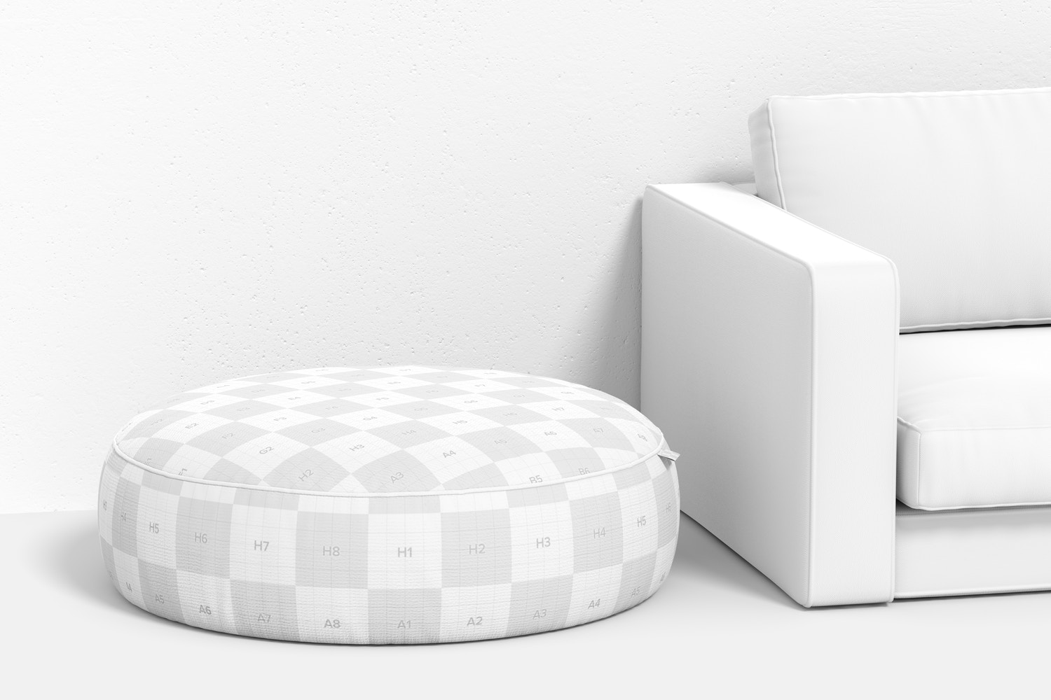 Large Pouf with Couch Mockup