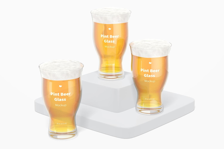 16 oz Pints Beer Glass Mockup, Perspective