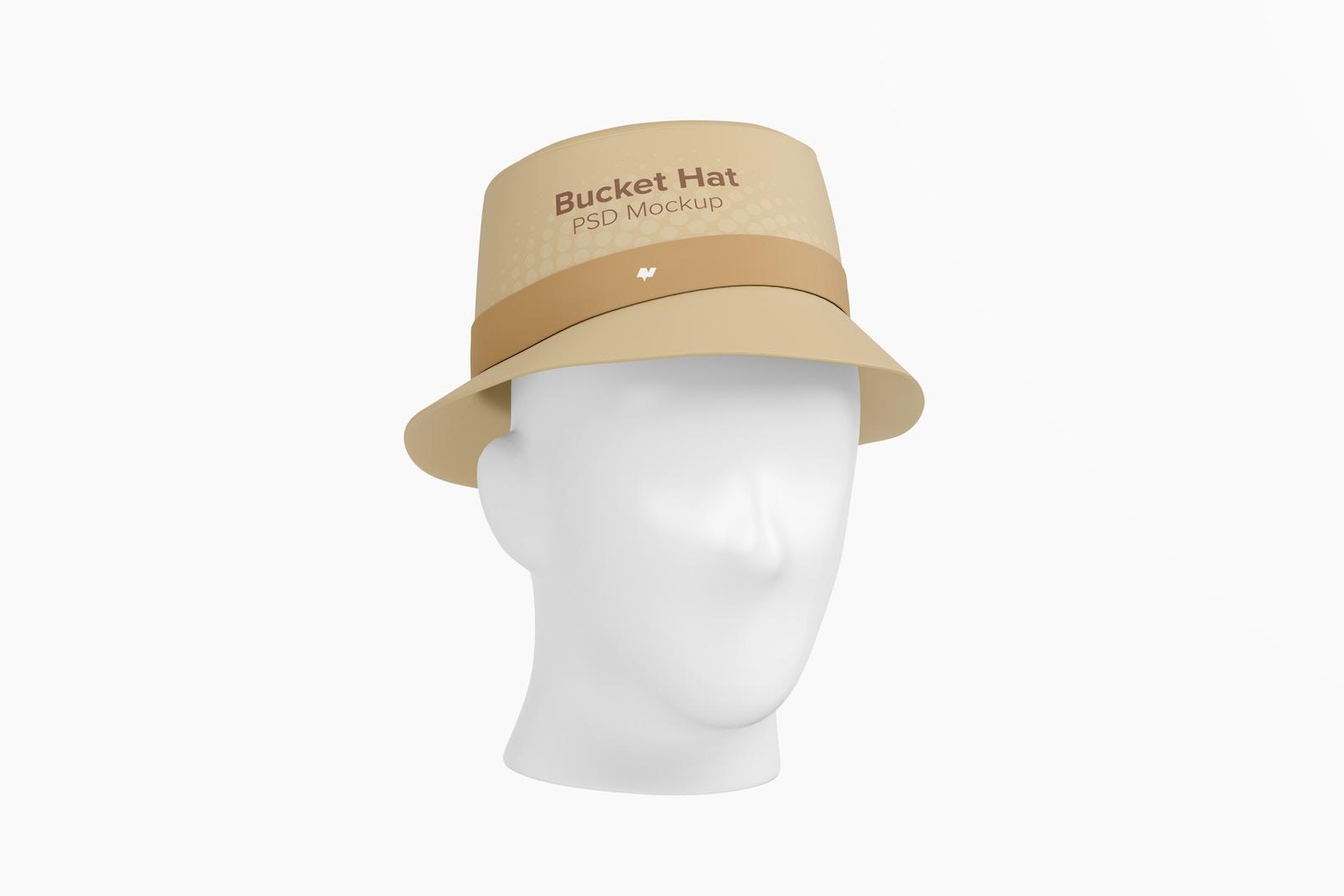 Bucket Hat Mockup, 3/4 Front Left View