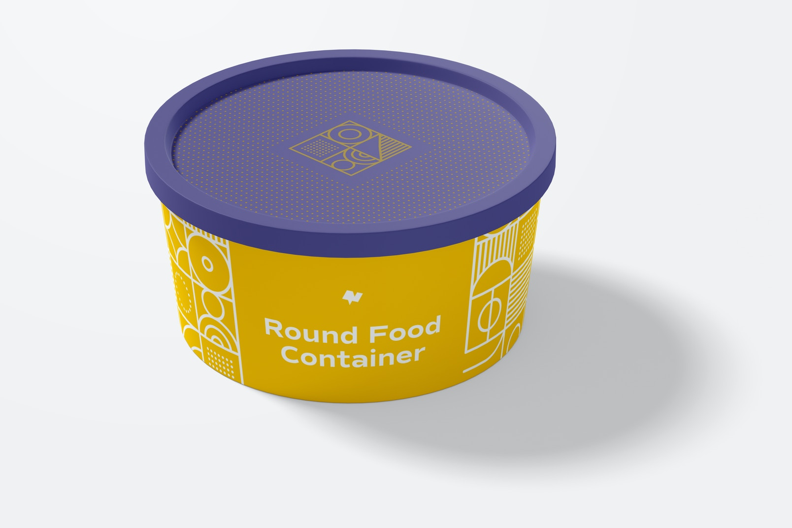 Round Plastic Food Delivery Container Mockup, Front View