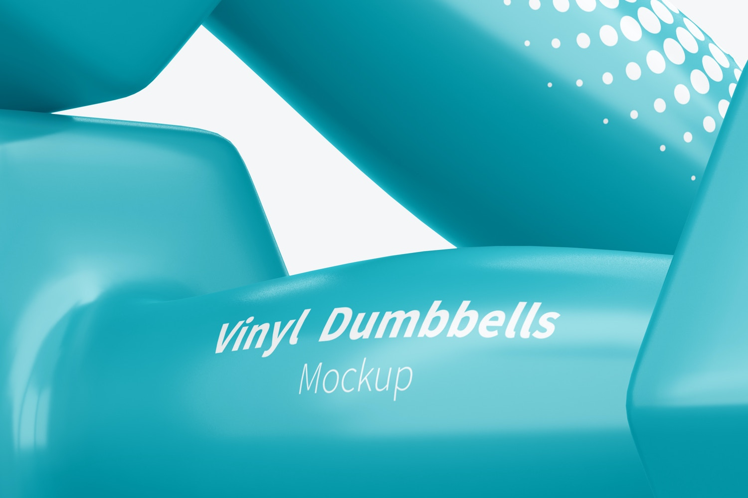 Vinyl Coated Dumbbells Mockup, Right View, Close-Up