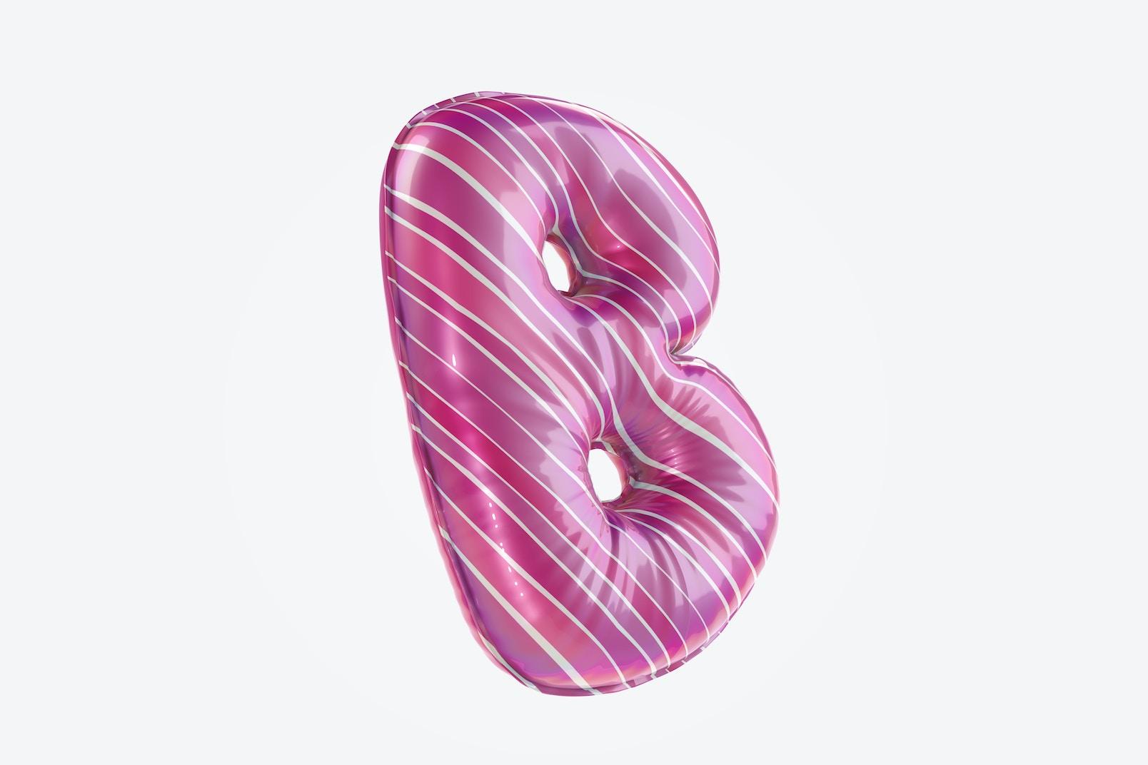 Letter B Foil Balloon Mockup