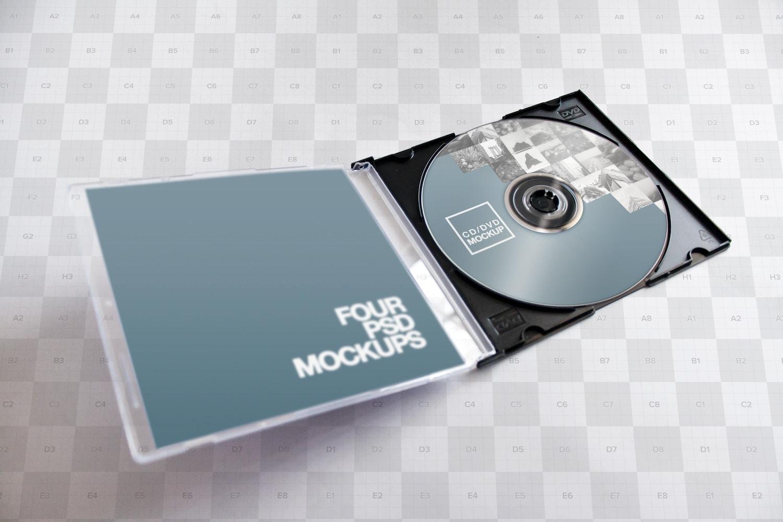CD-DVD Jewel Case Opened Mockup 02 - Custom Background