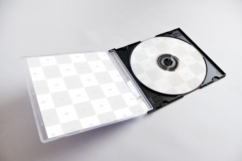 CD-DVD Jewel Case Opened Mockup 02 - Editable Zones
