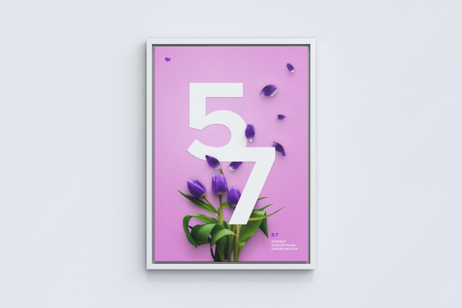 5:7 Portrait Canvas Mockup in Floater Frame, Front View
