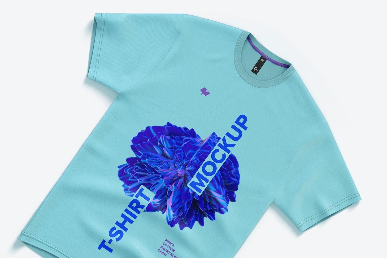 Men's Cotton Short Sleeve Crew T-Shirt Mockup, Top View 02