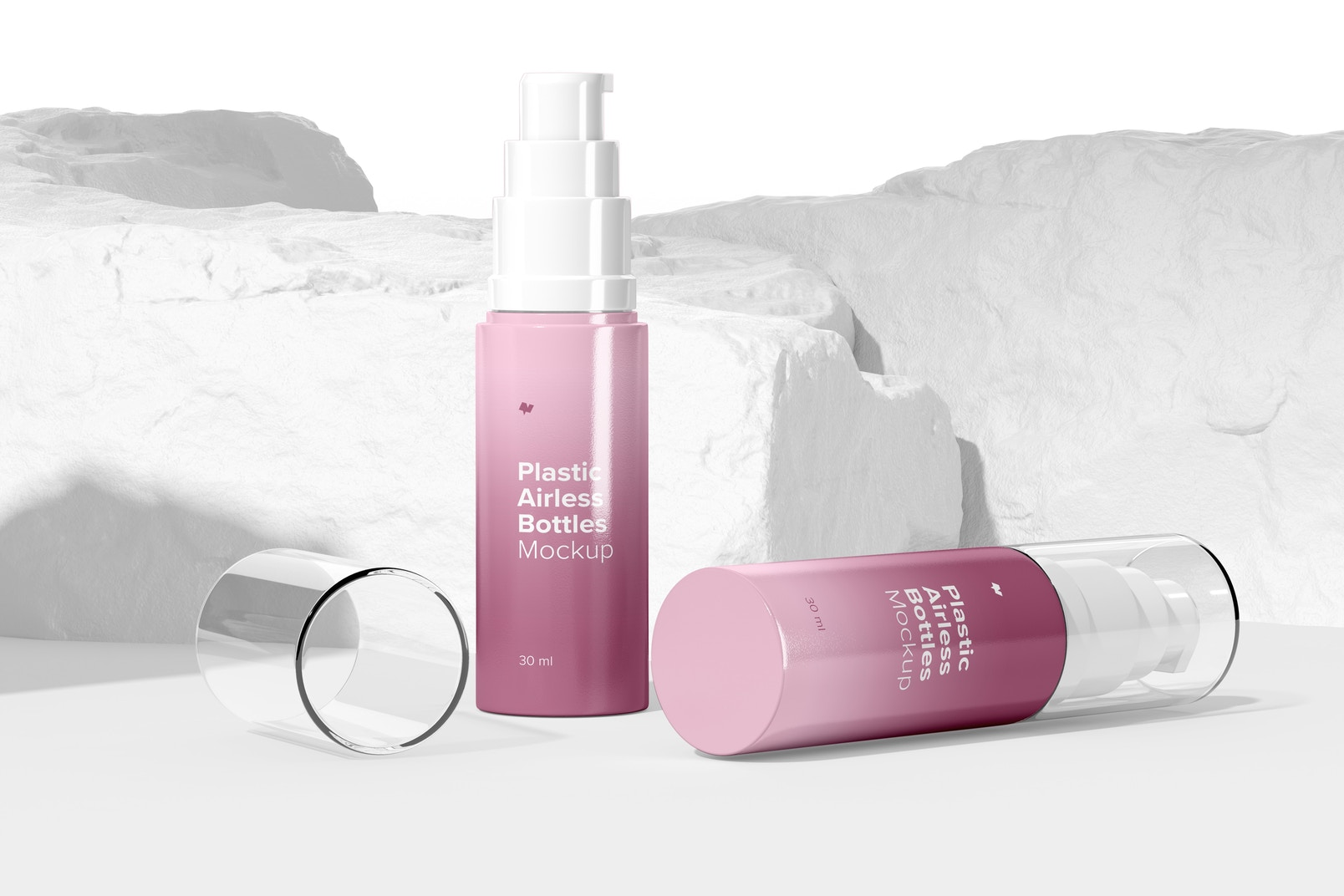 Plastic Airless Bottles Mockup, Standing and Dropped