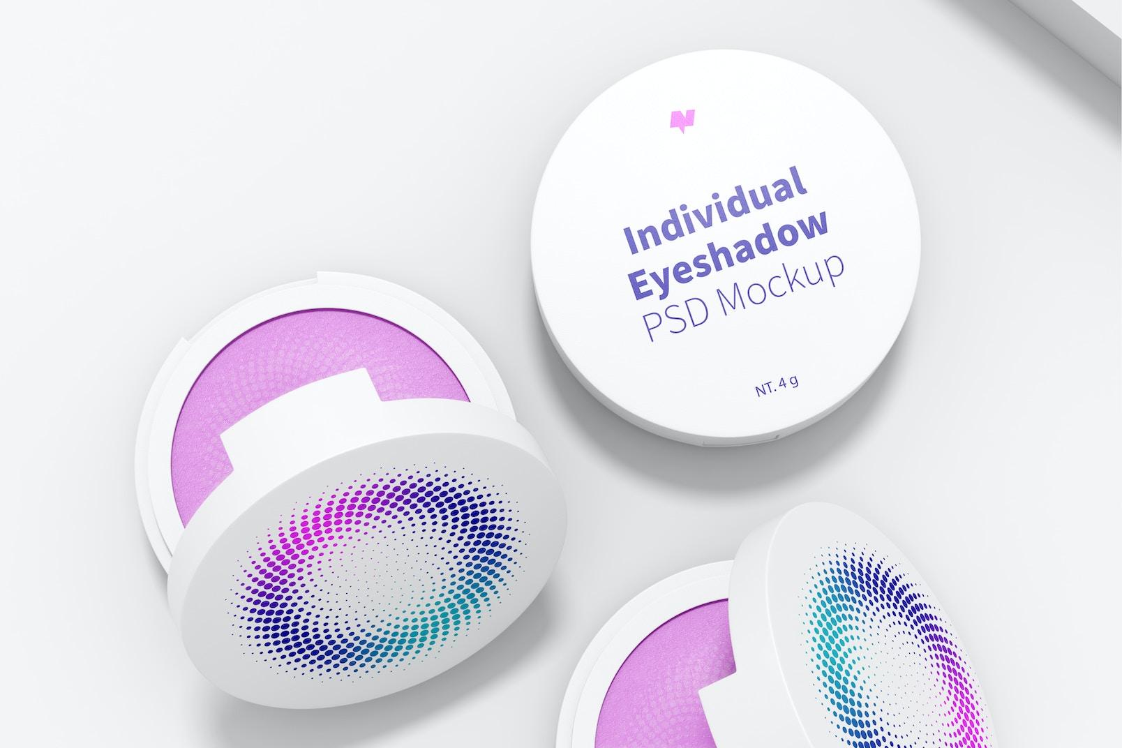 Round Individual Eyeshadows Mockup, Top View