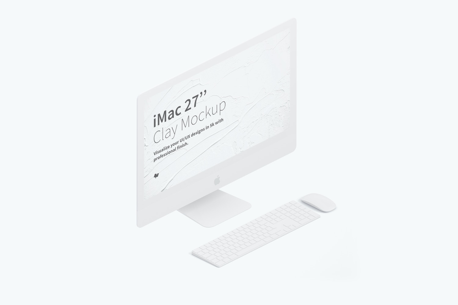 "Clay iMac 27"" Mockup, Isometric Left View by Original Mockups on Original Mockups"