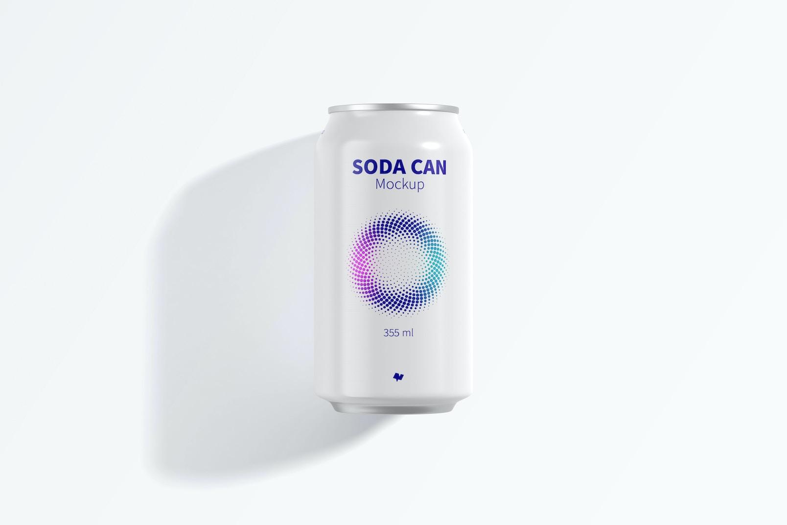 355 ml Soda Can Mockup, Top View