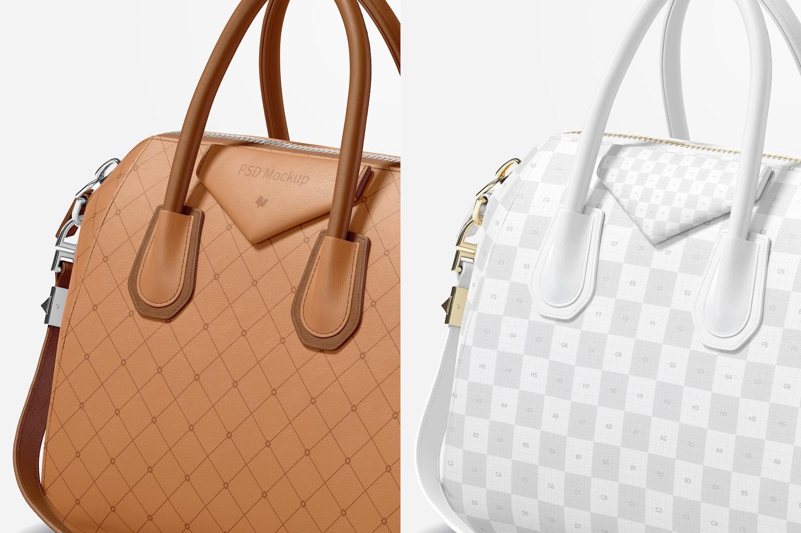 Women's Leather Bag Mockup, Close Up