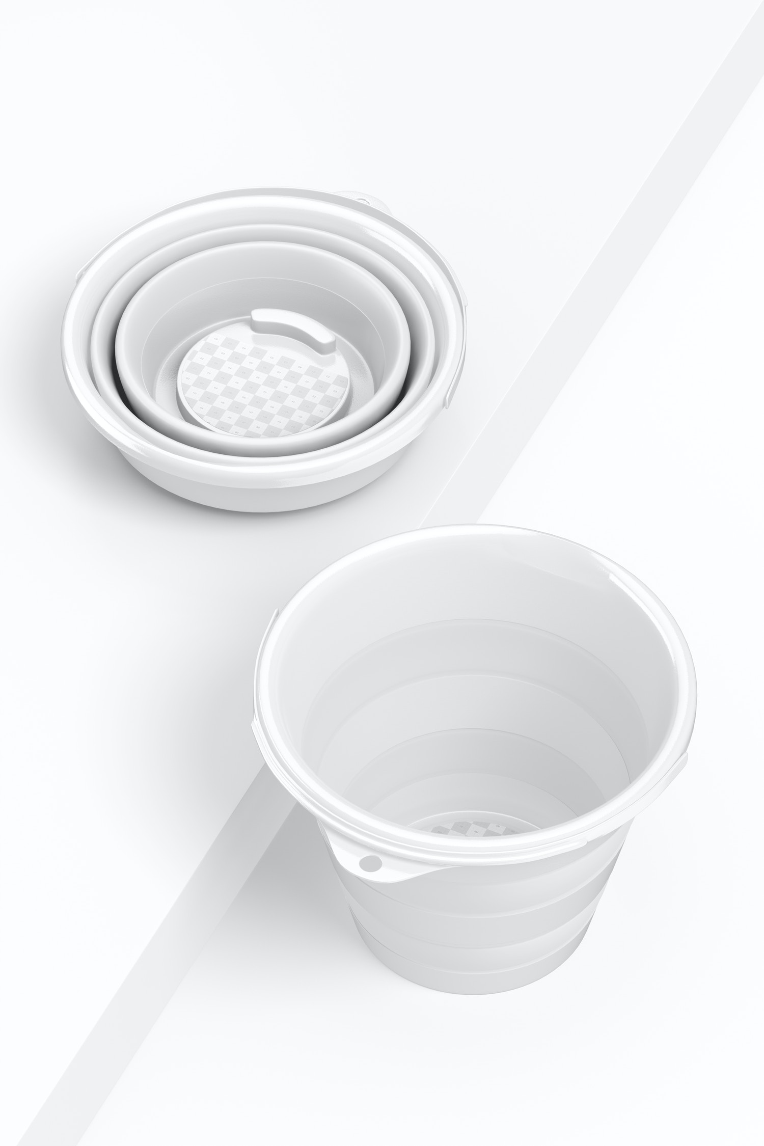 Retractable Bucket Mockup, Perspective View