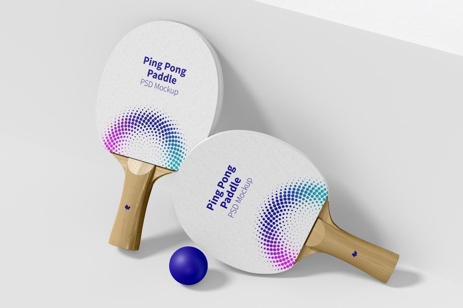 Ping Pong Paddles Mockup, Leaned